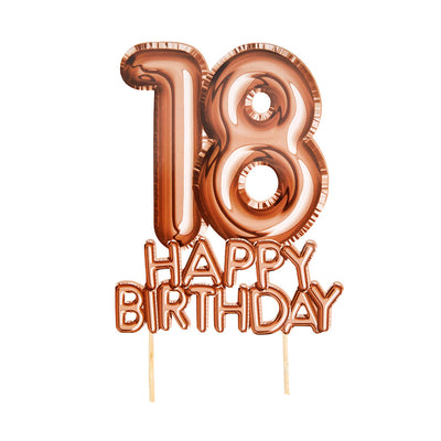Rose Gold '18 Happy Birthday' Card Cake Topper