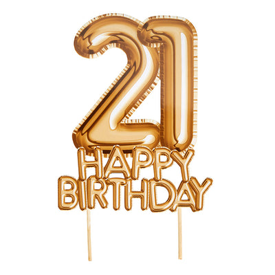 Gold '21 Happy Birthday' Card Cake Topper