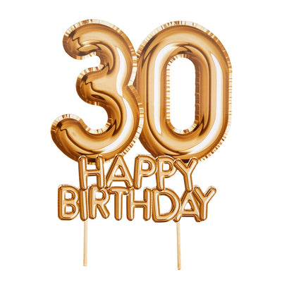 Gold '30 Happy Birthday' Card Cake Topper