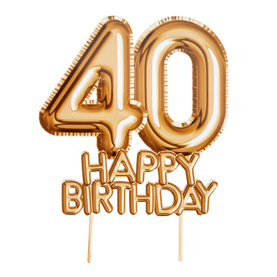 Gold '40 Happy Birthday' Card Cake Topper