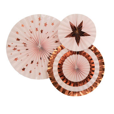 Rose Gold & Pink Paper Pinwheel Fans - Pack of 3 - Glitz & Glam Pink & Rose Gold
