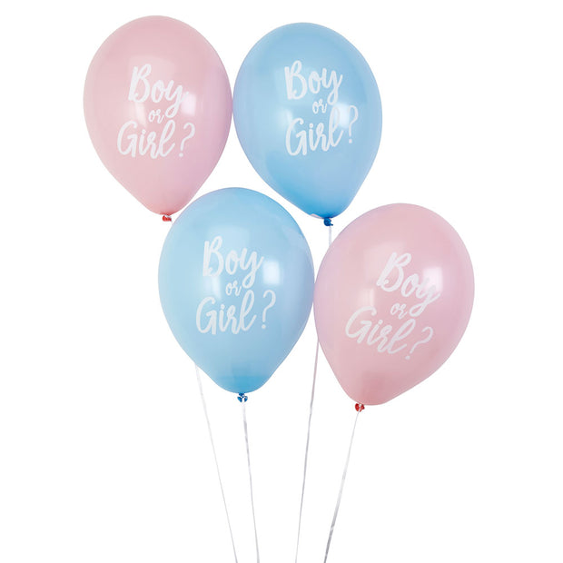 Pink & Blue 'Boy Or Girl?' Round Latex Balloons - Pack of 8