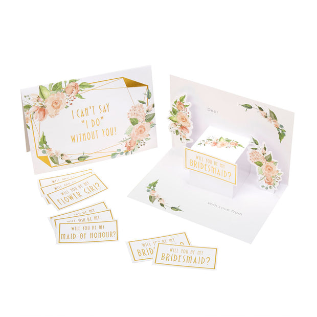 Gold & Floral Bridesmaid Cards - Pack of 3 - Geo Floral