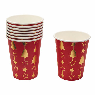 Christmas Red & Gold Paper Cups - Pack of 8 - Dazzling Christmas