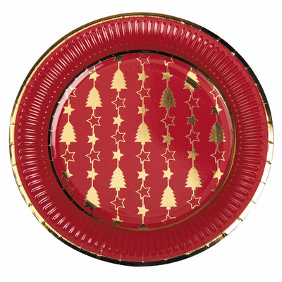 Christmas Red & Gold Paper Plates - Pack of 8 - Dazzling Christmas