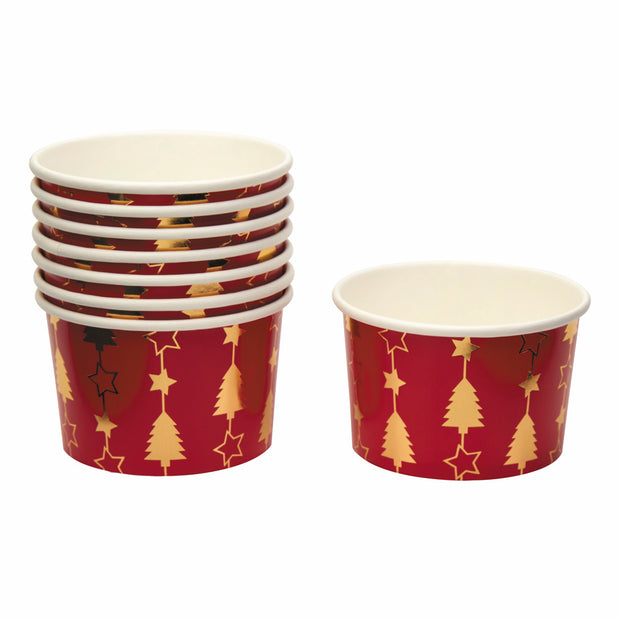Christmas Red & Gold Snack Tubs - Pack of 8 - Dazzling Christmas