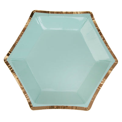 Mint & Gold Canape Size Paper Plates - Pack of 8 - Colour Block Mint