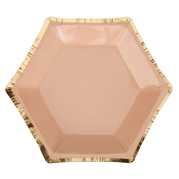 Peach & Gold Canape Size Paper Plates - Pack of 8 - Colour Block Peach