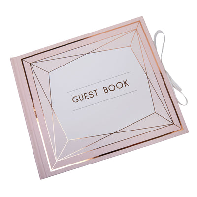 Rose Gold & Blush Pink Guest Book - Geo Blush
