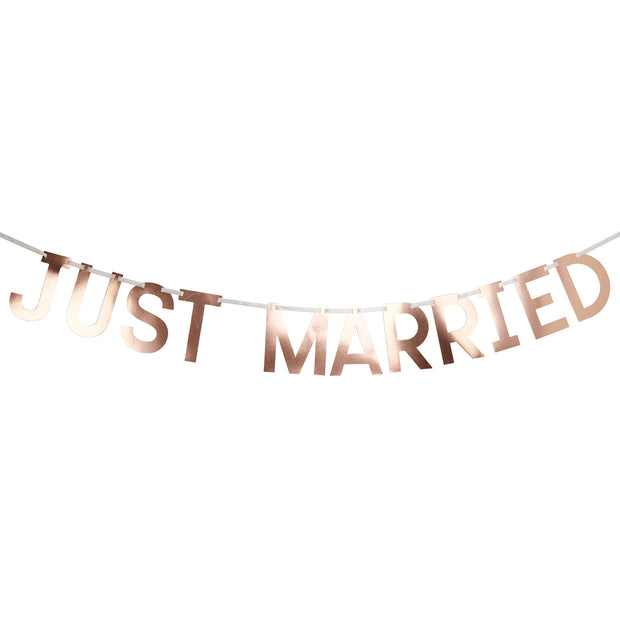 Rose Gold 'Just Married' Bunting - Geo Blush