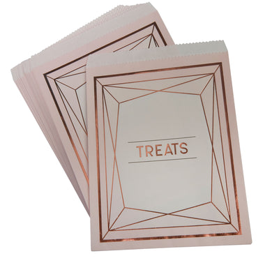 Rose Gold & Blush Pink Treat Bags - Pack of 25 - Geo Blush