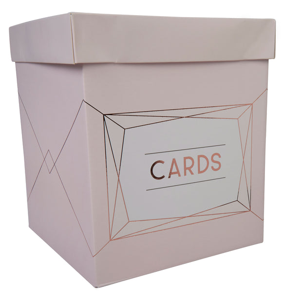 Rose Gold & Blush Pink Wedding Card Post Box - Geo Blush