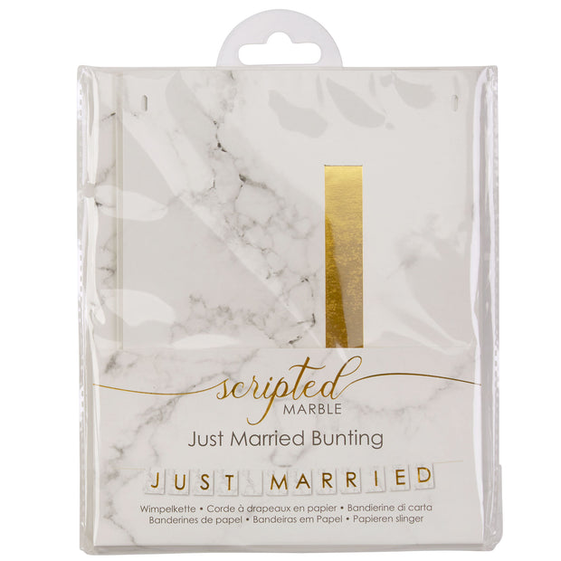 Marble & Gold 'Just Married' Bunting - Scripted Marble