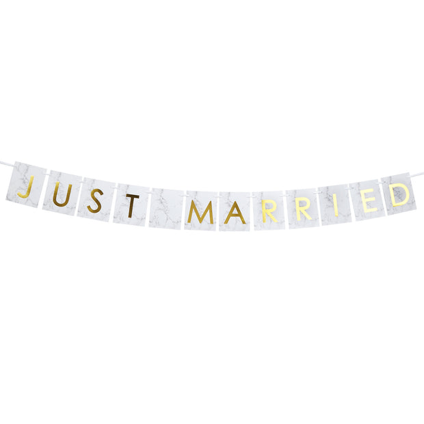 Marble & Gold 'Just Married' Car Bunting - Scripted Marble