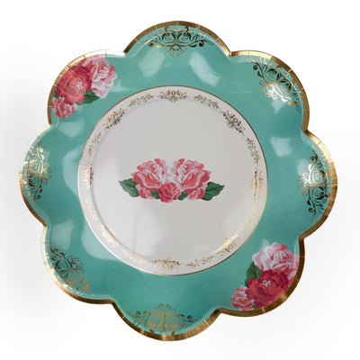 Mint & Gold Rose Large Paper Plates - Pack of 8 - Vintage Rose