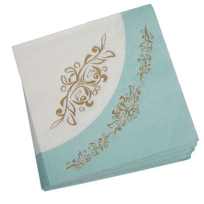 Mint & Gold Paper Napkins - Pack of 16 - Vintage Rose