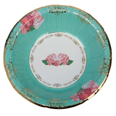 Mint & Gold Rose Large Paper Bowls - Pack of 8 - Vintage Rose