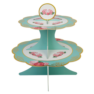 Mint & Gold Cake Stand - Vintage Rose