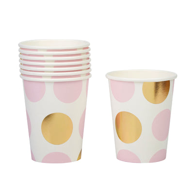 Pink & Gold Dots Paper Cups - Pack of 8