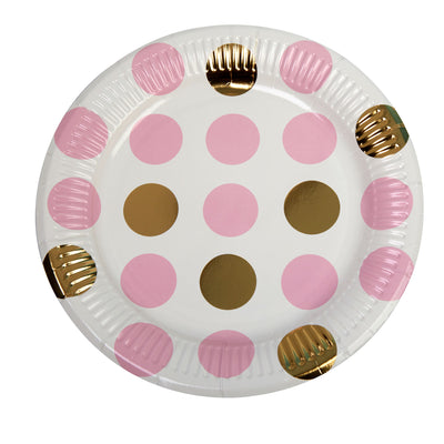Pink & Gold Dot Paper Plates - Pack of 8