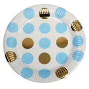 Blue & Gold Dots Paper Plates - Pack of 8