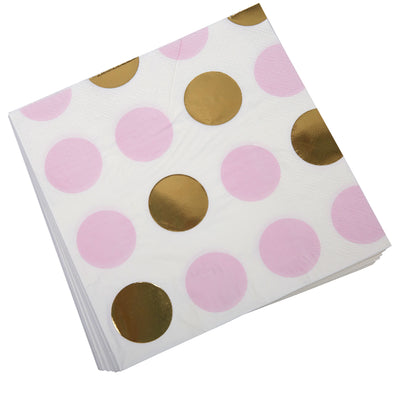 Pink & Gold Dots Paper Napkins - Pack of 16