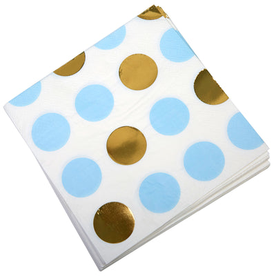 Blue & Gold Dots Paper Napkins - Pack of 16