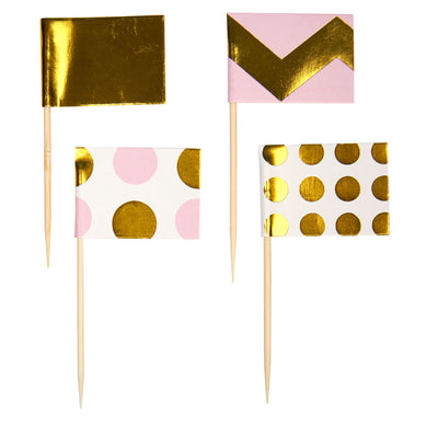 Pink & Gold Cupcake Toppers - Pack of 20