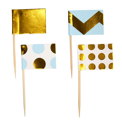Blue & Gold Cupcake Toppers - Pack of 20