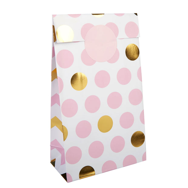Pink & Gold Dots Paper Party Bags - Pack of 5