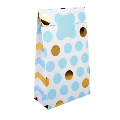 Blue & Gold Dots Paper Party Bags - Pack of 5