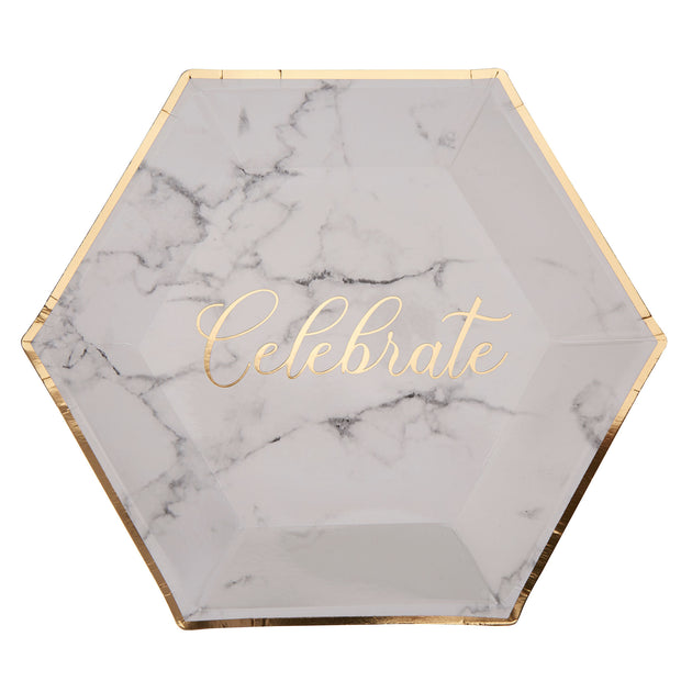 Marble & Gold Large Paper Plates - Pack of 8 - Scripted Marble