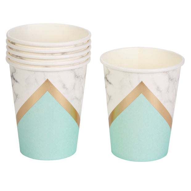 Mint, Gold & Marble Paper Cups - Pack of 8 - Colour Block Mint