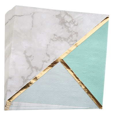 Mint, Gold & Marble Paper Napkins - Pack of 16 - Colour Block Mint
