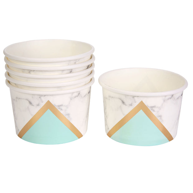 Mint, Gold & Marble Tubs - Pack of 8 - Colour Block Mint