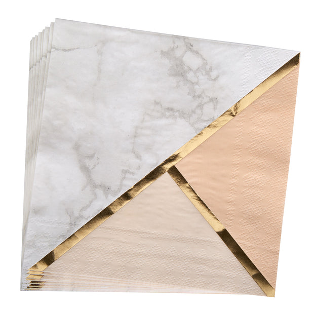 Peach, Gold & Marble Paper Napkins - Pack of 16 - Colour Block Peach