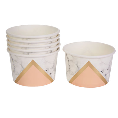 Peach, Gold & Marble Paper Tubs - Pack of 8 - Colour Block Peach