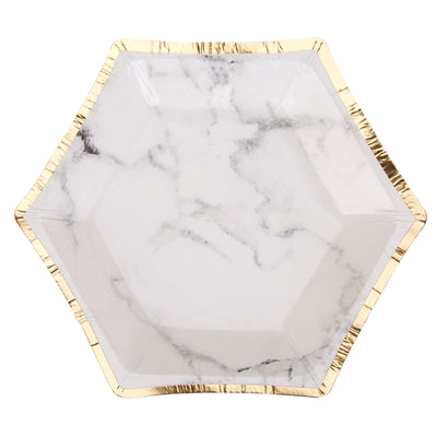 Marble & Gold Canape Size Paper Plates - Pack of 8 - Scripted Marble