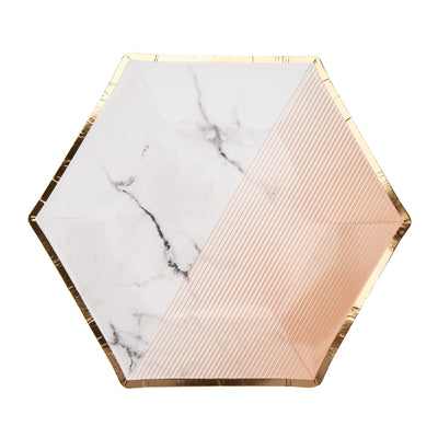 Peach, Gold & Marble Small Paper Plates - Pack of 8 - Colour Block Peach