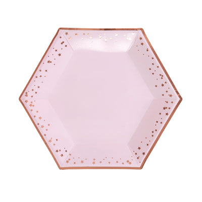 Rose Gold & Pink Large Paper Plates - Pack of 8 - Glitz & Glam Pink & Rose Gold