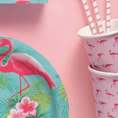 Pink, Yellow & Green Flamingo Paper Plates - Pack of 8 - Flamingo Paradise