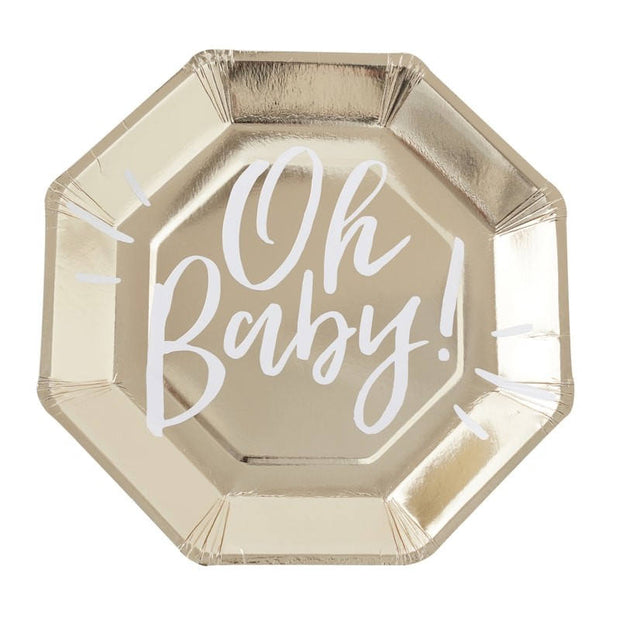 Gold & White Baby Shower Paper Plates - Pack of 8 - Oh Baby!