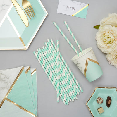 Mint teal paper straws-Mint and white striped paper straws-Birthday party straws-Hen party straws-Baby shower straws-Cake pop straws-25 pack