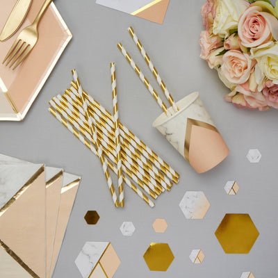 Gold and white striped paper straws - Gold straws - Birthday party straws - Hen party straws - Baby shower straws - Cake pop straws -25 pack