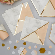 Peach and gold napkins - Marble effect paper napkins - Hen party napkins - Birthday napkins - Party decorations - Party tableware 16 napkins