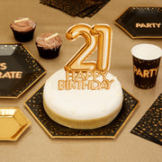 Gold 21 Happy Birthday cake topper - Gold cake decoration - 21st birthday decoration - Party decoration - Age cake topper - Cake decoration