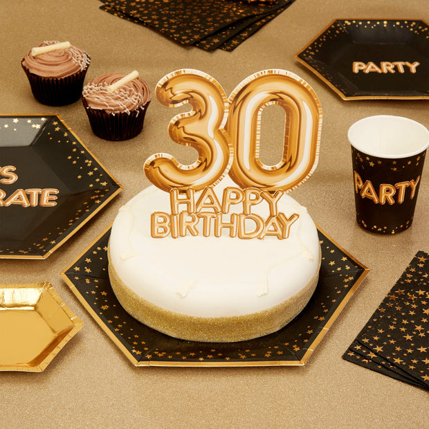 Gold 30 Happy Birthday cake topper - Gold cake decoration - 30th birthday decoration - Party decoration - Age cake topper - Cake decoration