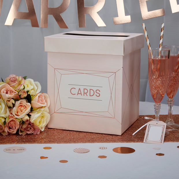 Rose gold wedding card box -Blush pink wedding card box-Wedding post box-Art Deco themed wedding-Wedding accessories-Wedding decor-Geo blush