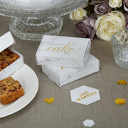 Marble and gold cake boxes - Scripted marble cake boxes - Wedding cake boxes - Marble and gold wedding decor - White and gold - Pack of 10