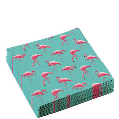 Flamingo napkins - Pink flamingo paper napkins - Tropical party napkins - Birthday napkins - Party decorations - Party tableware -16 napkins